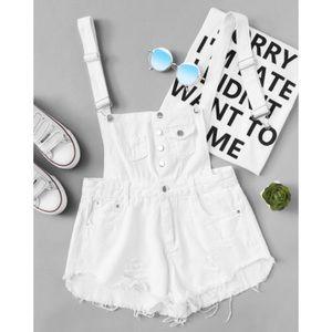 Denim - White Distressed Frayed Denim Button-Up Overalls
